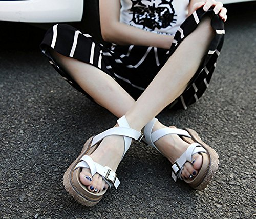 Soles Leather 5CM Rubber Strap amp;W Sandals Buckle H Gladiator White 4 Girls Real Platform Gum qF7pO