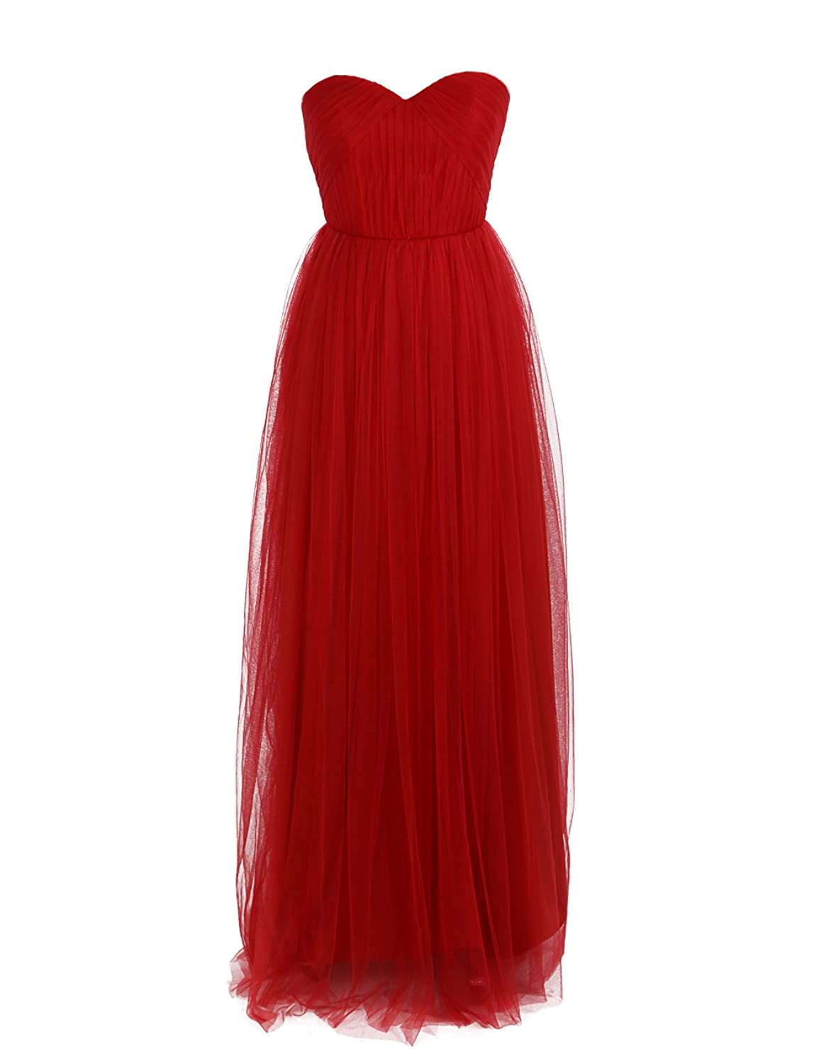 Dressystar Empire Tulle Bridesmaid Dresses Long Size 16 Red
