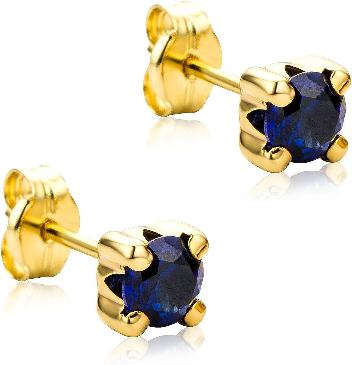 Orovi Pendientes Señora Solitario presión en Oro Amarillo y Zafiro azul Oro 9 Kt / 375