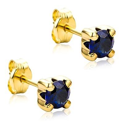 dda598b33238 Orovi Pendientes Señora Solitario presión en Oro Amarillo y Zafiro azul Oro  9 Kt   375  Amazon.es  Joyería
