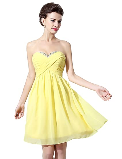 Clearbridal Womens Yellow Short Party Prom Dress Mine Chiffon Sweetheart Cocktail Homecoming Gowns with Crystal SD253