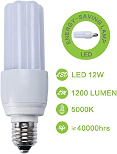 9W LED Energy Saving Lamp, Lampin Super Bright E27 LED Lighting Light Bulb 60 Watt Equivalent 3000K Soft White for Home and Office (5000K Daylight White, 12W)