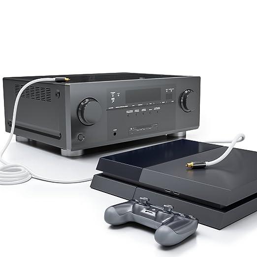 deleyCON 10m Cable Audio Digital Óptico S/PDIF 2X Conector Toslink Cable de Fibra Óptica Conector de Metal 5mm Flexible - Blanco