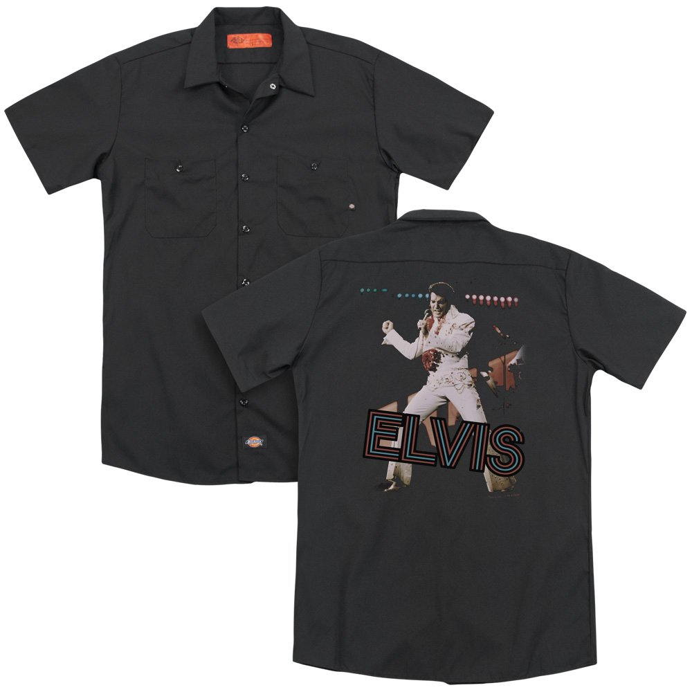 Elvis Hit The Lights Adult Work Shirt