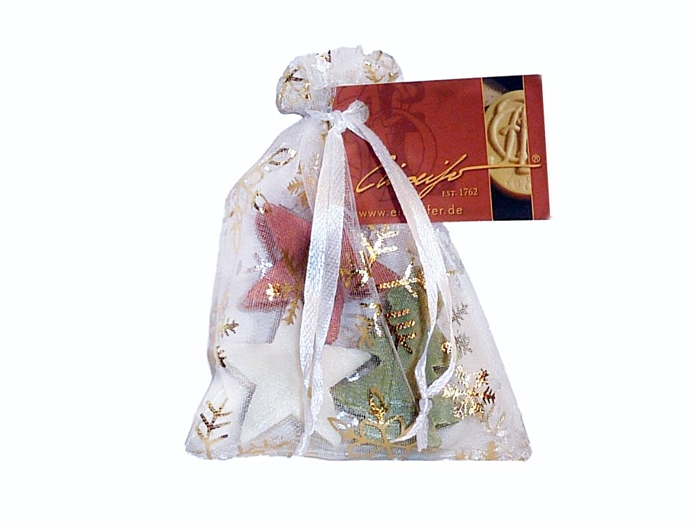 3 Weihnachtsseifen mit Lanolin im Organza-Säckchen - 1 Bäumchen + 2 ...
