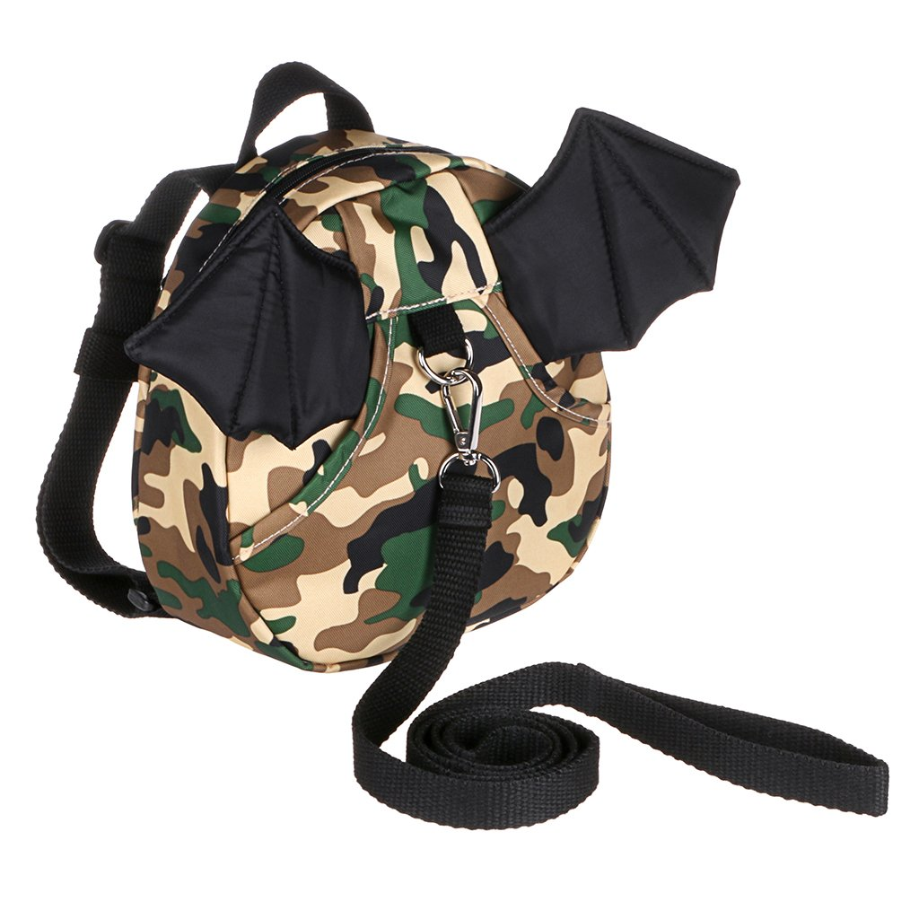 Hipiwe Baby Toddler Walking Safety Backpack with Leash Little Kid Boys Girls Anti-Lost Travel Bag Harness Reins Cute Mini Bat Backpacks for Baby 1-3 Years Old (Camouflage Green)