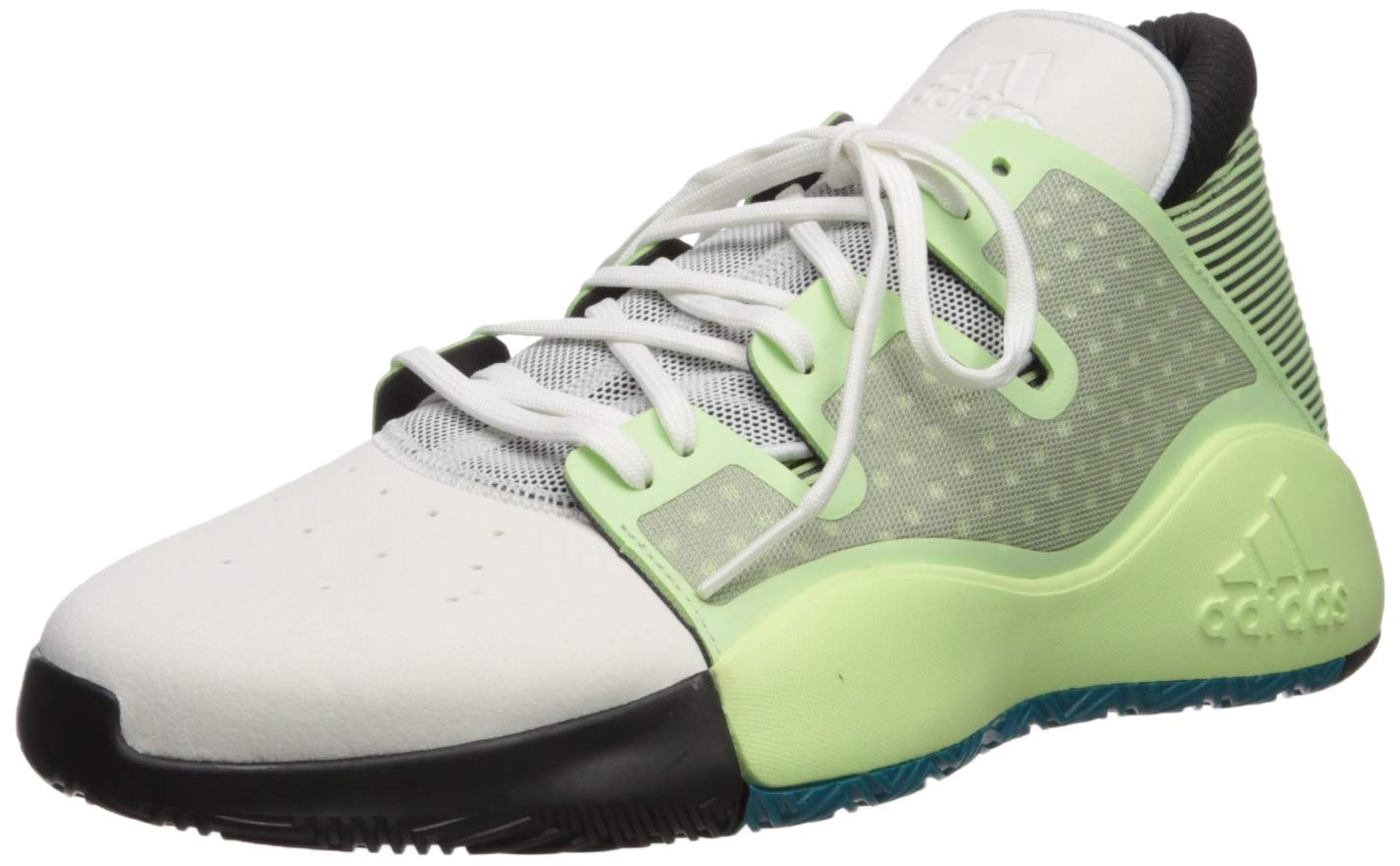 adidas Men's Pro Vision Basketball Shoe, Glow Green/Crystal White/Black, 8.5 M US by adidas