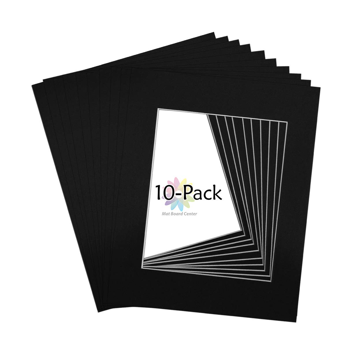 Mat Board Center, Pack of 10, 11x14 Black Colors Picture Mats for 8x10 Photos White Core by MBC MAT BOARD CENTER