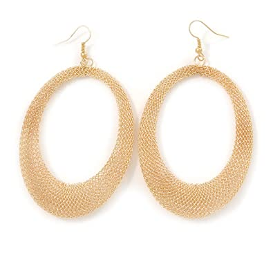 1435651a5 Image Unavailable. Image not available for. Color: Large Gold Tone Mesh  Oval Hoop Earrings ...