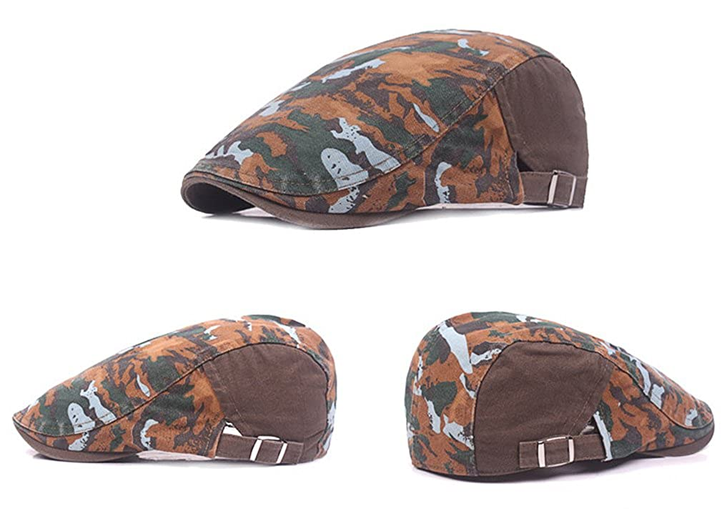 RICHTOER Vintage Gatsby Army Cotton Camo Military Ivy Cap Cabbie Newsboy Hat