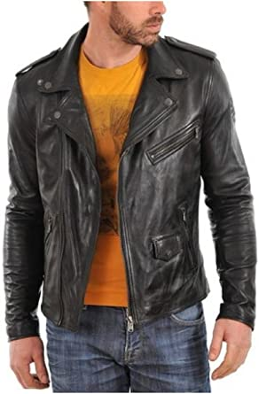 New York Leather Mens Biker Lambskin Leather Jacket Black