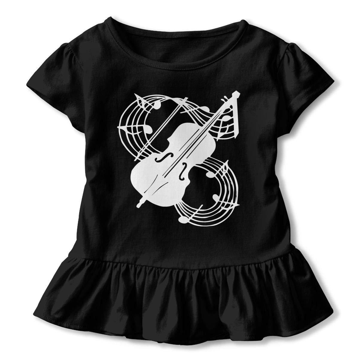 Cute Sweatshirt with Falbala 2-6T Violin T-Shirts for Girls PMsunglasses Short Sleeve Musical Note