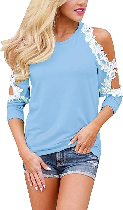 StyleDome Maglia Donna Pizzo Maglie Eleganti Maglietta Manica Corta Girocollo Casual T-Shirt Tops Bello