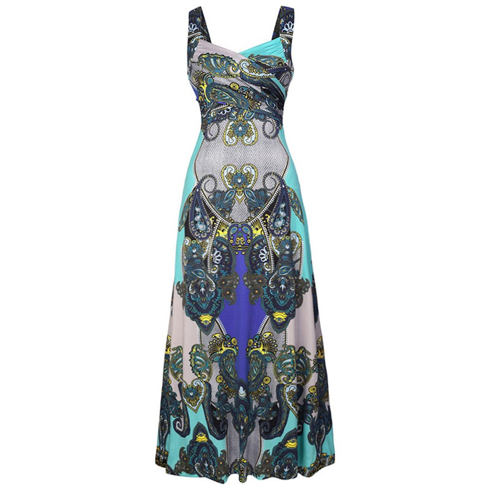 Beach Long Strapless Floral Print Maxi Backless Bohemian Femme Robe High Waist Dress blue L