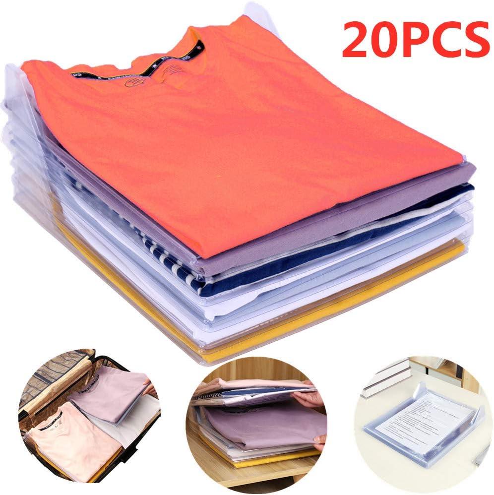 Nifogo Organizador de Camisetas,Camiseta Carpeta - Antihumedad y Antiarrugas,Tamaño Normal(20-Pack)