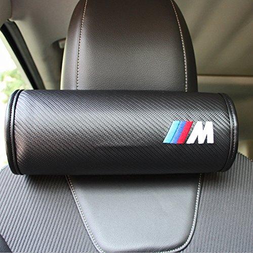 S-WEKA 2PCS Carbon Fiber Car Neck Pillow (Soft Version) Breathe Car Auto Head Neck Rest Cushion Headrest Pillow Pad (Black)