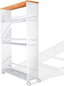 boeray 3 Tier Slim Rolling Storage Cart Metal Mobile Shelving Unit Slide Out Storage Tower with Lockable Wheel for Kitchen Bathroom Laundry Room Drawing Room Narrow Places White