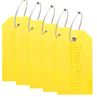 BlueCosto 5x Luggage Tags Suitcase Tag Travel Bag Labels w/Privacy Cover