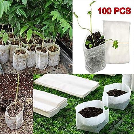 Cadiyo 100 Unids/Paquete Degradable no tejido vivero Macetas Plántulas Bolsa de cultivo Plantas Bolsa Bolsas