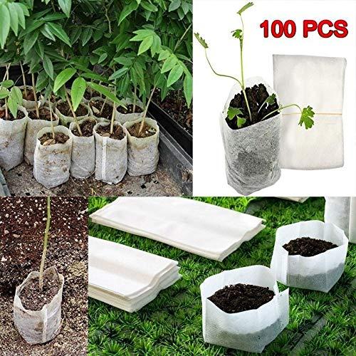 GuGio 100pcs Eco-Friendly Aeration Fabric Pots Nursery Seedling Plant Grow Bags (8x10cm/3.15x3.94inch)