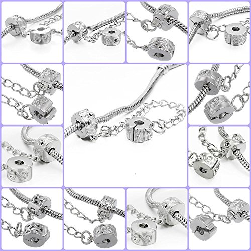 RUBYCA 10pcs Mix Silver Color Clip Lock Double Stopper Chain Clasp Beads fit European Charm Bracelet