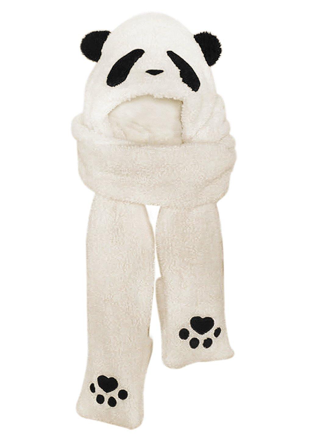 Amazon.com: Women Girls Cute Panda Animal Winter Hats 3 in 1 Warm ...