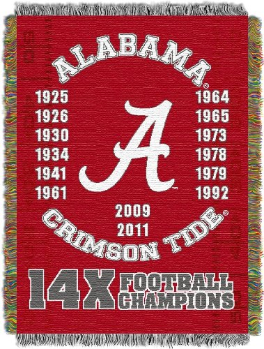 The Northwest Company Officially Licensed NCAA Alabama Crimson Tide Commemorative Woven Tapestry Throw Blanket, 48