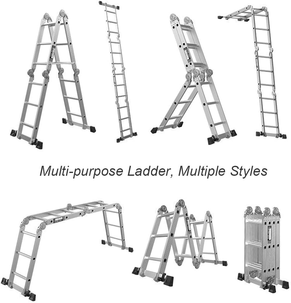 DlandHome 4.7 M Folding Ladder Multi Purpose Aluminium Folding Step Ladder Scaffold Ladder 6 in 1 Step EN131 Certified Extension Ladder