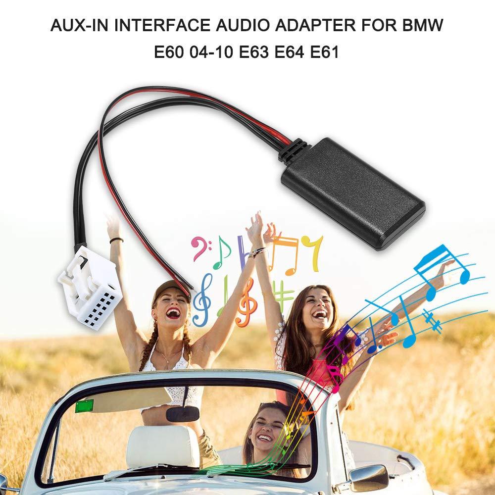 Voupuoda Adaptador de Interfaz de Audio Auxiliar AUX-IN Cable BT inal/ámbrico para BMW E60 04-10 E63 E64 E61