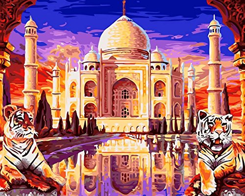 Tonzom Wooden Framed Paint by Number Kits DIY Canvas Oil Painting for Kids, Students, Adults Beginner - Taj Mahal Palace 16x20 inch with Brushes and Acrylic Pigment