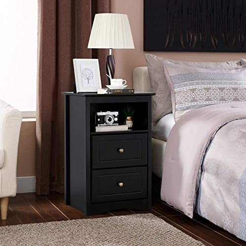 Topeakmart Tall End Side Table Night Stand with 2 Drawers and Open Shelf – Bedside Chair Side Storage Cabinet Black