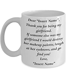 MyFaveGift Customizable Personalized Boyfriend To Girlfriend Gifts Funny Cute Coffee Mug Perfect Gift Idea For Her