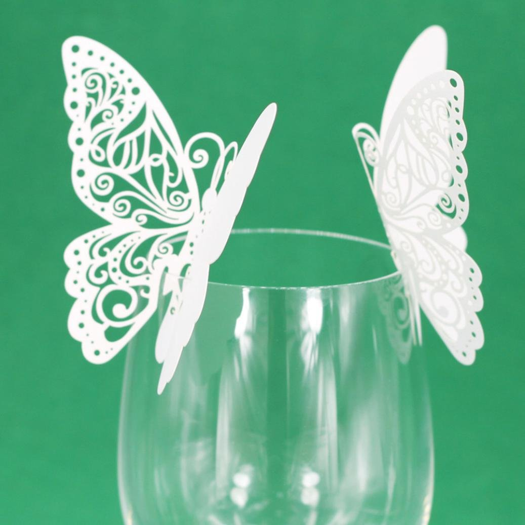 Exteren New 50 Pcs Butterfly Wine Glass Paper Card for Wedding Party White Water Cup Water Bottle Water Mug Flask (White)