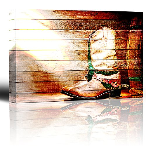 Boot and spurs on a weathered wood background Rustic country and western artwork
