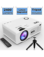 """QKK Projector (Latest Upgraded), 2400Lumens Mini Projector with 176"""" Projection Size, 1080P Supported Full HD Video Projector, Compatible with HDMI, VGA, AV, USB for Home Theater, Movie, Video Game, Party, Outdoor activities and More"""
