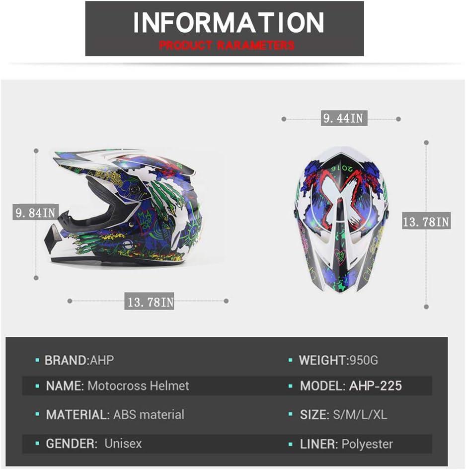 Fullface-Motocross-Offroad-Helm Four Seasons Universal Outdoor-Dirt-Fahrradhelme Handschuhe, Brille, Maske, 4-teiliger Satz Motorradhelm