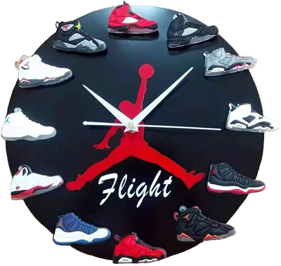 "12""Air Jordan Wall Clock with 3D Mini Sneakers, Sneaker Head Style Decor Air Jordan 1 to 12 Clock, Gift for Hypebeasts"