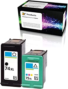 OCProducts Refilled HP 74XL 75XL Ink Cartridge Replacement for HP Officejet J6480 Photosmart C4400 C4380 C4500 Deskjet D4260 (1 Black 1 Color)