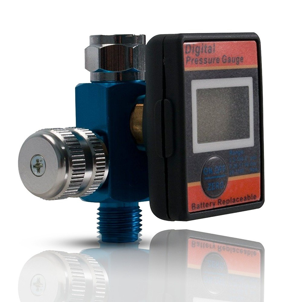 Lematec Regolatore di flusso dell'aria con manometro digitale.'La valvola di regolazione aria' 1/4 di pollice universale del filetto maschio Inlet Fitting, compressore d'aria/linea accessori di compressore d' aria/linea accessori di Ubiquitous