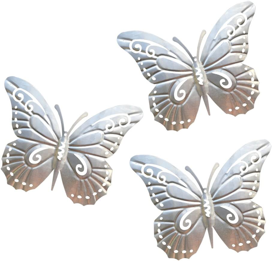 superdream 3D Nature Inspired Metal Butterfly DIY Decorative Wall Art Trio Hang Indoors or Outdoors