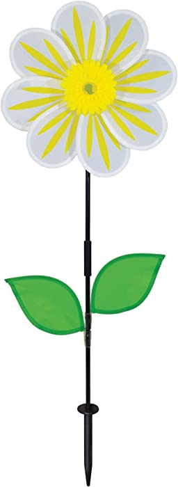 In the Breeze 2686 13 Inch White Daisy Flower Wind Colorful Spinner for Your Yard and Garden