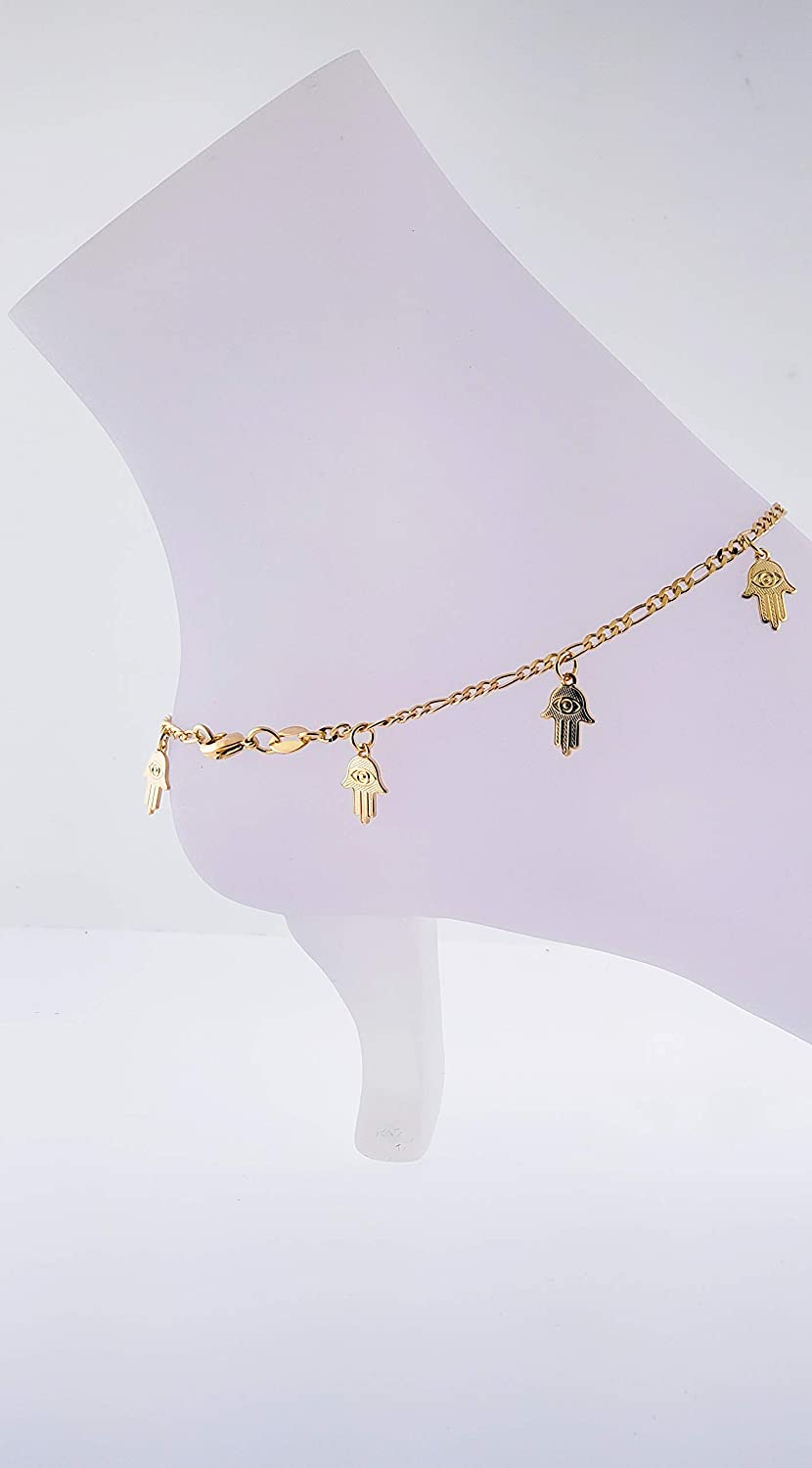10 inches Figaro Link W// 8 pcs Hamsa Charms Ray Dainty 14K Gold-Plated Ankle Bracelet