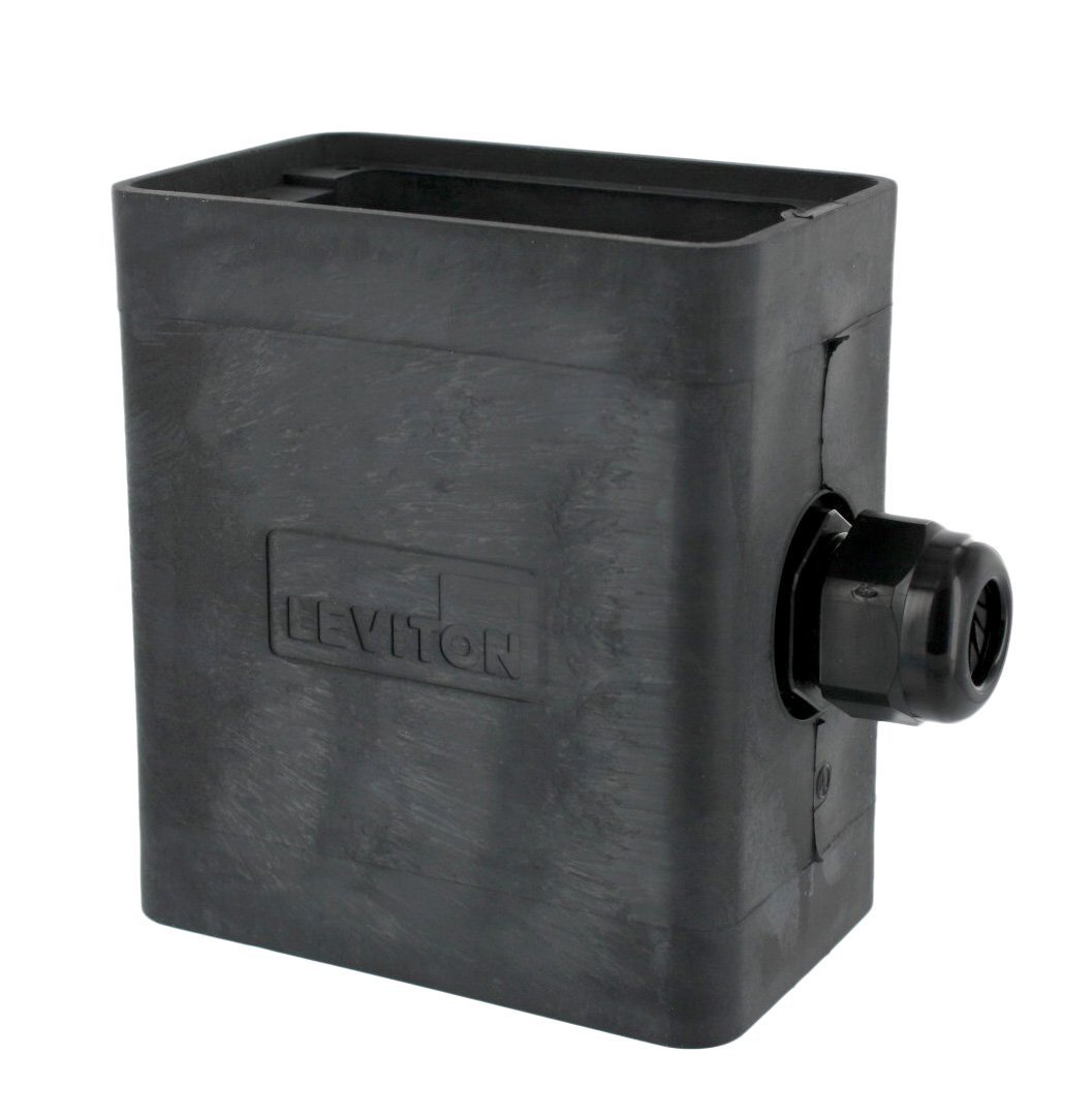 Leviton 3099-1E Portable Outlet Box, Sing-Gang, Extra Deep, Pendant Style, Cable Diameter 0.230-Inch, 0.546-Inch, Black