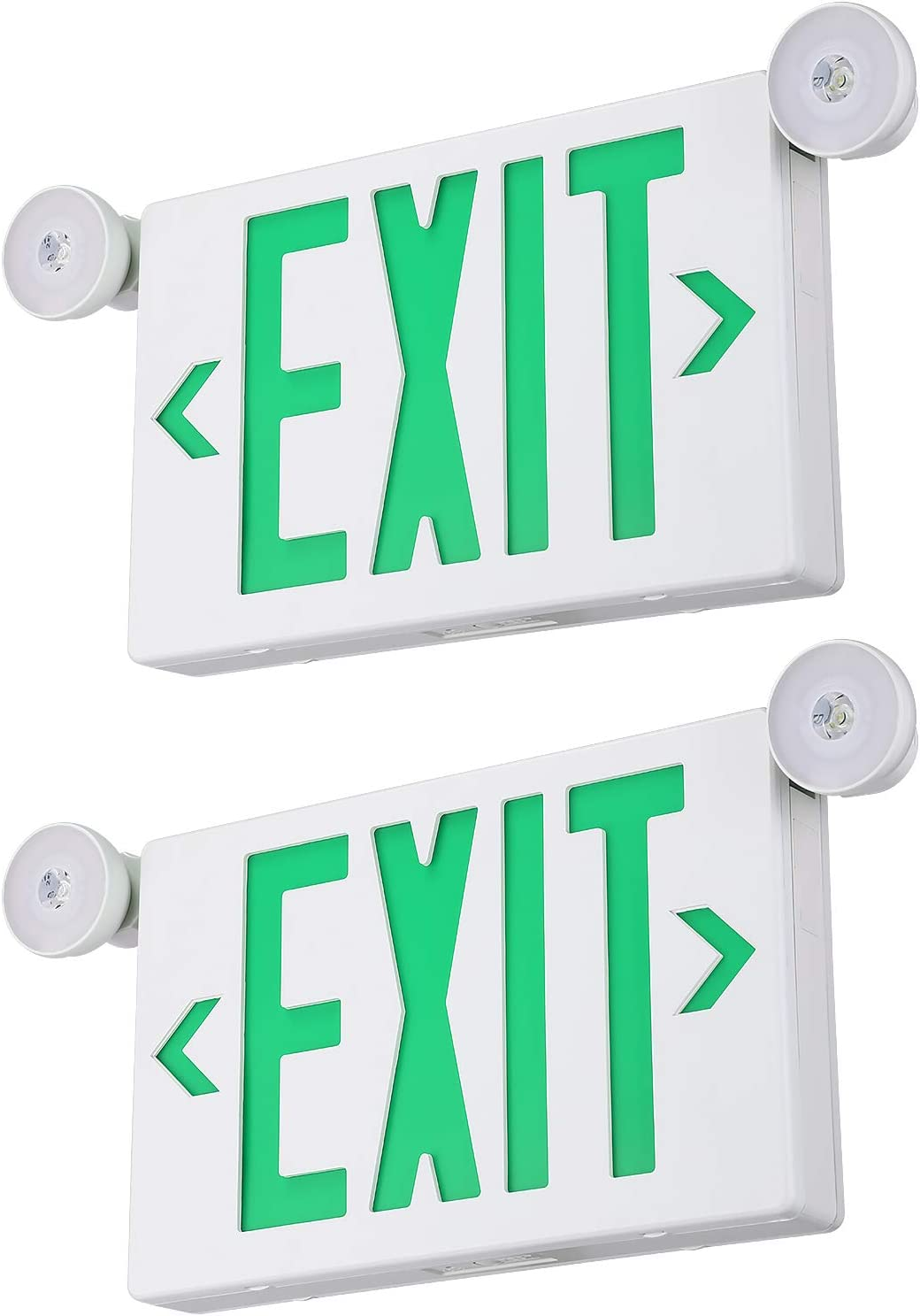 TORCHSTAR Green LED Exit Sign with Emergency Lights, Two LED Adjustable Head Emergency Exit Light with Backup Battery, AC 120V/277V, UL Listed, Exit Sign for Business, Pack of 2