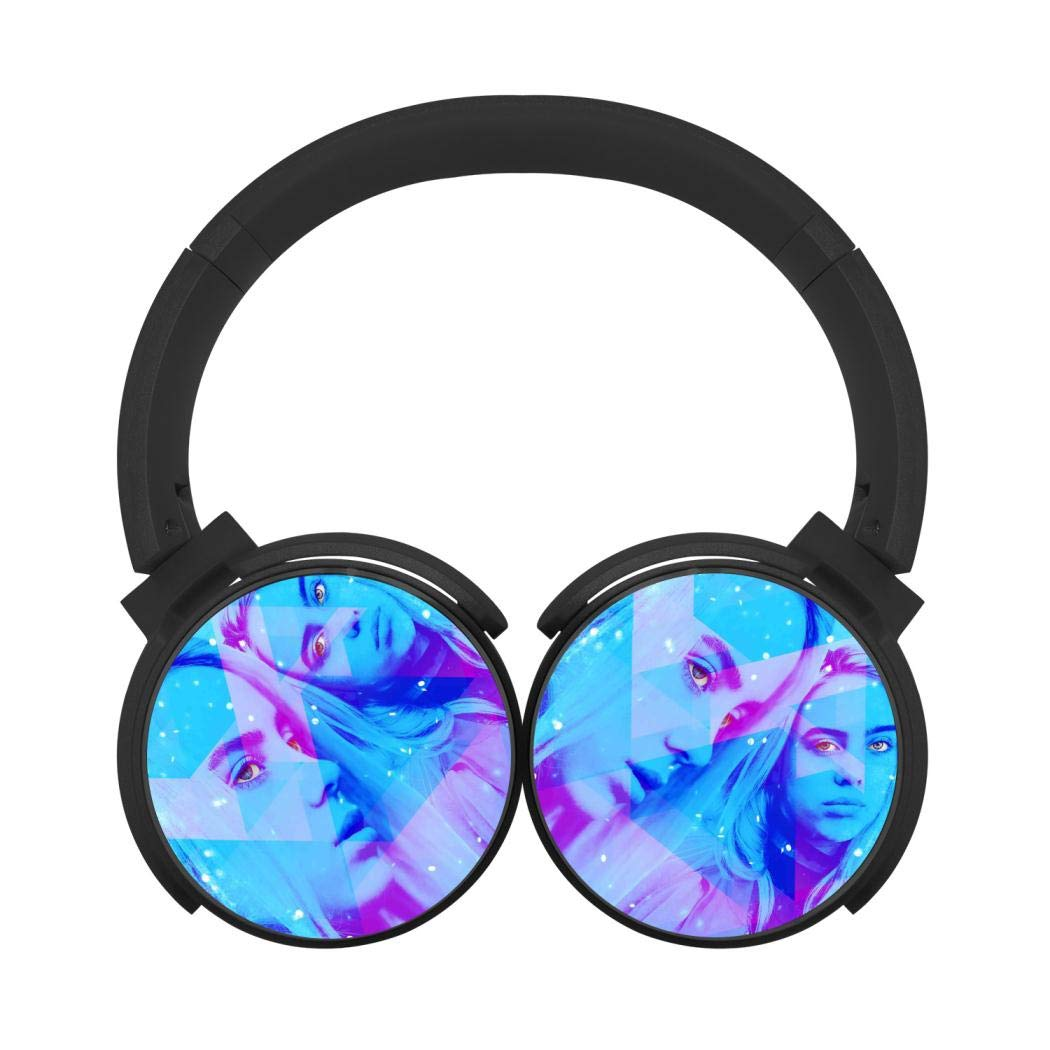 Mobile Wireless Bluetooth Headset Billie-Eilish 3D Printing Over Ear Headphones Black