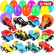 "Sizonjoy 12 Pack Filled Easter Eggs with Toy Cars,3.3"" Filled Surprise Eggs for Easter Theme Party Favor,Eggs Hunt,Basket St"