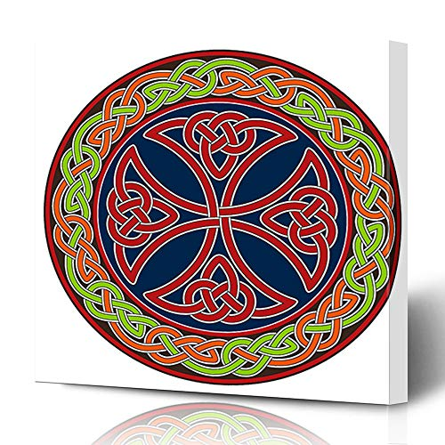 Trinity Patterns (Ahawoso Canvas Prints Wall Art 16x16 Inches Ancient Knot Celtic Cross Circle Tribal Border Pattern Trinity Decor for Living Room Office Bedroom)