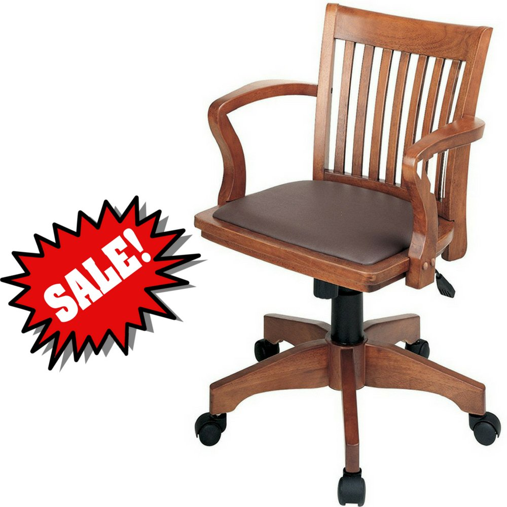 Bankers desk chair with arm rests brown wooden with vinyl upholstered padded tufted seat swivel rolling adjustable height classic home office desk chair