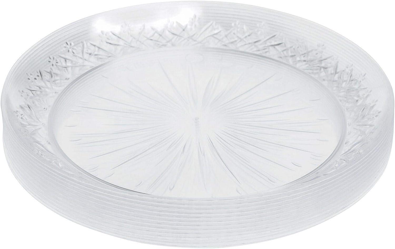 Paquete de 24 platos de plástico duro transparente ~ 25 cm (10 pulgadas) ~ platos elegantes para servir fiestas ~ desechables/reutilizables ~ ideal para fiestas, bodas, eventos de catering Navidad