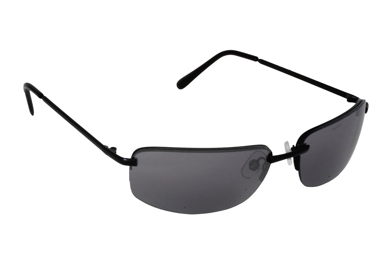 Foster Grant SPVL 14914 FG113 Unisex Semi Rimless Rectangular Sunglasses Black Metal Frame & Arms Black UV400 Lenses 100% UV Protection CAT 2 at Amazon ...